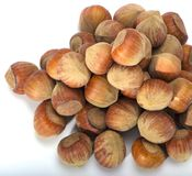 Hazelnuts closeup on a light background Stock Image
