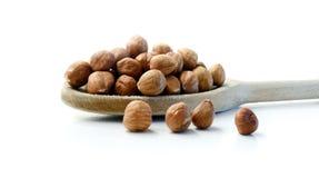 Hazelnuts & Drewniana łyżka Obraz Royalty Free