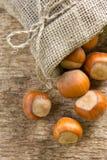 Hazelnuts (filbert). On the wood Stock Image