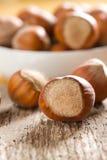 Hazelnuts (filbert). On the white bowl Royalty Free Stock Photos