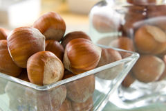 Hazelnuts (filbert). On the vintage wooden surface Stock Images