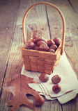 Hazelnuts (filbert) in basket Royalty Free Stock Images