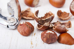 Hazelnuts, filbert on old wooden background. Selective focus Stock Photo