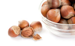 Hazelnuts in a glass bowl Royalty Free Stock Image