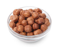 Hazelnuts in glass bowl Stock Images