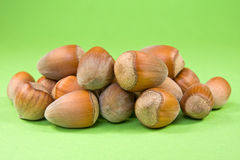 Hazelnuts on the green background Stock Photography