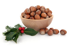 Hazelnuts and Holly Stock Photography