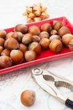Hazelnuts i jesień liście Obrazy Royalty Free