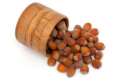 Hazelnuts In A Wooden Bowl Stock Photography