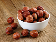Hazelnuts In Bowl Stock Photography