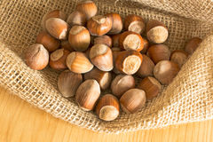 Hazelnuts in a jute sack Stock Photography