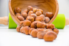 Hazelnuts on the kitchen bench Stock Photography