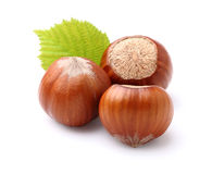Hazelnuts with leaf Stock Images