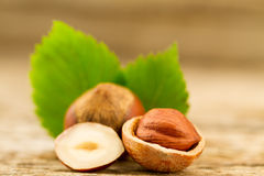 Hazelnuts with leaves on old wooden background. Royalty Free Stock Image