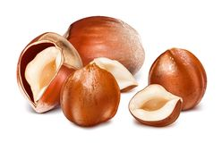 Hazelnuts with leaves. Stock Photos