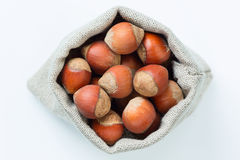 Hazelnuts in the linen bag  Royalty Free Stock Photos