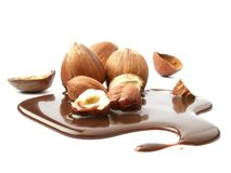Hazelnuts on liquid chocolate Royalty Free Stock Photos