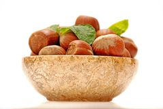 Hazelnuts and mint leaves in a marble bowl Stock Photos