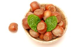 Hazelnuts and mint in a marble bowl Royalty Free Stock Images