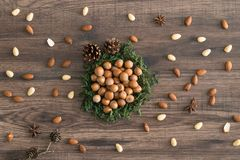 Hazelnuts in moss with cones, badian and almonds on a wooden background. Some almonds and badian around on the table stock photo