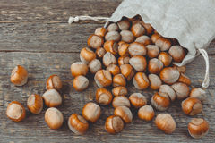 Hazelnuts na drewnianej desce Fotografia Royalty Free