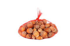 Hazelnuts in a net Royalty Free Stock Image