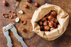 Hazelnuts and nutcracker Royalty Free Stock Images