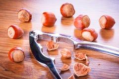 Hazelnuts with nutcracker Stock Photo