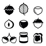 Hazelnuts, nuts - food vector icons set Royalty Free Stock Image
