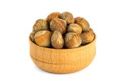Hazelnuts nuts of Turkish hazel. The concept of hazelnut nuts as. Money earnings of dolars. Isolate on white background, copy space royalty free stock photography