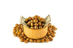 Hazelnuts nuts of Turkish hazel. The concept of hazelnut nuts as. Money earnings of dolars. Isolate on white background, copy space stock images