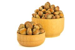 Hazelnuts nuts of Turkish hazel. The concept of hazelnut nuts as. Money earnings of dolars. Isolate on white background, copy space royalty free stock image