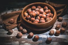 Hazelnuts nuts in a wooden bowl on a dark background. Low key lighting stock images