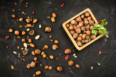 Hazelnuts in nutshell in a wooden box grunge dark backdrop Royalty Free Stock Images