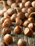 Hazelnuts on old wooden background Stock Photography
