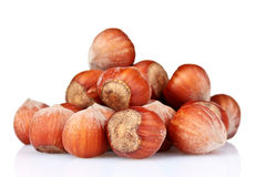 Hazelnuts over the white Royalty Free Stock Photo
