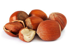 Hazelnuts over white background Stock Photography