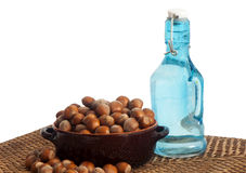 Hazelnuts placed over a white Royalty Free Stock Photography