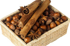 Hazelnuts placed over a white Stock Photos