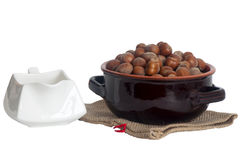 A hazelnuts placed. Some hazelnuts placed over a white background stock images