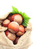 Hazelnuts in sack Stock Images