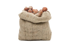Hazelnuts in a sack Royalty Free Stock Photos