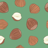 Hazelnuts seamless pattern with green background. Hand drawn vector. Stock Images