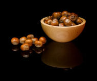 Hazelnuts  in small wooden Stock Photo