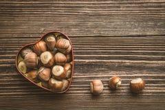Hazelnuts w serce kształtnej blaszanej puszce Fotografia Royalty Free