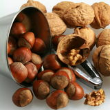 Hazelnuts and walnut Royalty Free Stock Photo