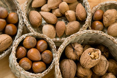 Hazelnuts, walnuts and almonds Royalty Free Stock Photos