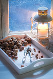 Hazelnuts and walnuts for Christmas Stock Images
