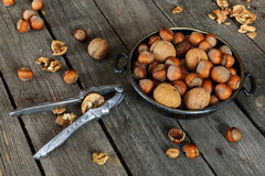 Hazelnuts, walnuts and nutcracker Stock Photos