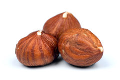 Hazelnuts on white Royalty Free Stock Photos